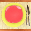 Table setting on wooden background close-up — Stock Photo #14850457