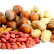 Assortment of tasty nuts, isolated on white — Stock Photo #14855833
