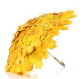 Maple leaves umbrella isolated on white — Stock Photo