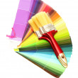 Stock Photo: Paint brushes and bright palette of colors isolated on white