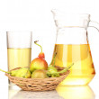 Duchess drink with pears in basket isolated on white — Stock Photo #14944539