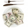 Money on plate isolated on white background close-up — Stock Photo