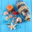Decor of seashells close-up on blue wooden table — Stock Photo #14945701