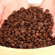 Coffee beans in hands close-up — Stock Photo #14946825