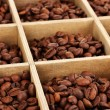 Coffee beans in wooden box close-up — Stock Photo #14946839