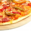 Tasty pepperoni pizza on wooden board isolated on white — Stock Photo #14948385