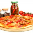 Tasty pepperoni pizza with vegetables on wooden board isolated on white — Stock Photo #14948393