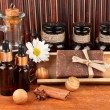 Ingredients for soap making on brown background — Stok Fotoğraf #14948629