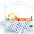 Boiled eggs in box isolated on white — Stock Photo