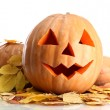 Royalty-Free Stock Photo: Halloween pumpkins and autumn leaves, isolated on white
