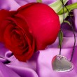 Heart pendant with red rose — Stock Photo