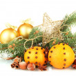 Christmas composition with oranges and fir tree, isolated on white - Stockfoto