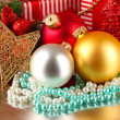 Christmas decoration and gift boxes background — Stock Photo