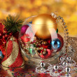 Christmas decoration on golden background — Stock Photo