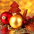 Christmas decoration on red background — Stock Photo #14949603