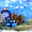 Christmas decoration on blue background — Stockfoto