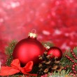 Christmas decoration on red background - Стоковая фотография
