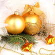 Christmas decoration in white fur - Stockfoto
