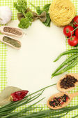 Paper for recipes,vegetables and spices on green background — Foto de Stock
