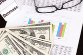 Documents, money and glasses close-up — Stock Photo