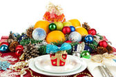 Serving Christmas table on white background — Stock Photo