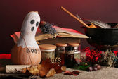 Scary halloween laboratory in red light — Stock Photo