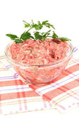 Bowl of raw ground meat isolated on white — Zdjęcie stockowe