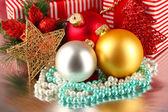 Fondo de cajas de decoración y regalo de navidad — Foto de Stock