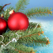 Beautiful christmas composition on blue background - Stockfoto
