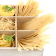 Nine types of pasta in wooden box sections close-up isolated on white — Stock Photo