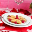 Table setting in honor of Valentine's Day close-up — Stock Photo #14954645