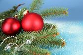 Mooie kerst compositie op blauwe achtergrond — Stockfoto