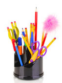 Holder for pencils isolated on white — 图库照片
