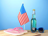 Concept of Labor Day in America, on blue background close-up — Stock Photo