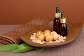 Aromatherapy setting on brown background — 图库照片