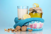 Healthy ingredients for strengthening immunity on blue background — Stock Photo
