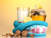 Healthy ingredients for strengthening immunity on yellow background — Stock Photo