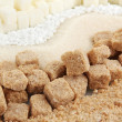 Stock Photo: Sweetener with white and brown sugar close-up