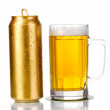 Golden can and beer glass isolated on white — Stock Photo