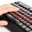 Painful typing on keyboard close-up — 图库照片