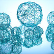 Beautiful decorative balls, on blue background — Stock Photo #15313217