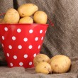 Royalty-Free Stock Photo: Ripe potatoes in red pail on sacking