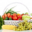 Composition with vegetables and fruits in wicker basket isolated on white — Stock Photo #15314911