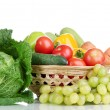 Composition with vegetables and fruits in wicker basket isolated on white — Stock Photo #15314917