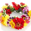 Wreath of beautiful summer flowers, isolated on white - Stock Photo