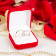 Beautiful box with wedding rings on red, white and pink rose petals background isolated on white — Zdjęcie stockowe