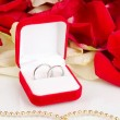 Beautiful box with wedding rings on red, white and pink rose petals background isolated on white — Stock fotografie