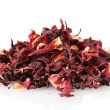 Stock Photo: Aromatic Hibiscus tea, isolated on white
