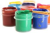与上白色背景特写的多彩多姿水粉画的罐子 — 图库照片