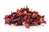 Aromatic Hibiscus tea, isolated on white — Stock Photo